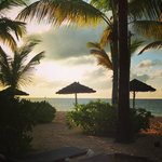 Sunset from our patio in a premium beachfront suite