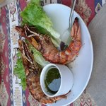 perfect grilled prawns with a fresh dill sauce