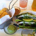 Custom made grilled veggie wraps w asparagus, broccoli rabe, zucchini, avocado & salsa on side &