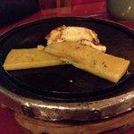 Polenta e queijo na pedra, hummm