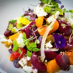 Beet salad with clemtine, sheep feta, and Syrian anise.