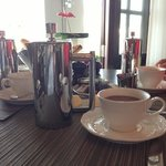 Personal french press at breakfast
