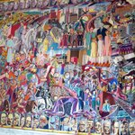 Tapestry showing World leaders and other icons like The Beatles