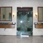 Indoor Bathroom Looking Onto Outdoor Shower