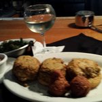Broiled crab cakes on fried green tomatoes