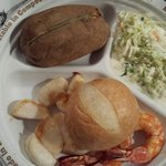 Broiled shrimp and scallops with baked potato and coleslaw. Delicious!!!!!!!!