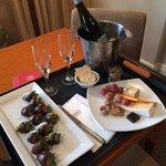 Wine Chocolate strawberries and cheese