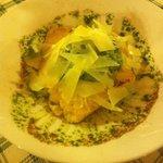 Antipasto: luccio con polenta e parmiggiano.