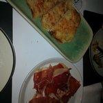 Smoked mozarella on toast and jamon