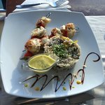 Shrimp dish with a mint sauce that my friend really liked