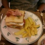 Lunch club sandwich and fries