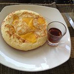 Breakfast popular mango pancake with maple syrup
