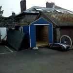 Half built/demolished shed in car park