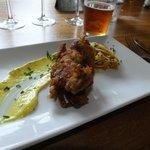 Soft shell crab tempura, saffron and garlic mayonnaise , pickled white cabbage