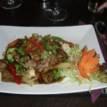 The garlic and black pepper beef with vegtables