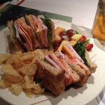 Club Sandwich with Fruit Salad/Poppyseed Dressing