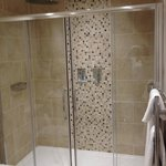 Double shower with waterfall shower heads