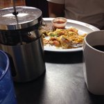 Migas, French press and cup a joe