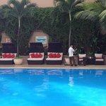 Cabana style seats at pool