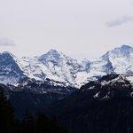 Blick vom Balkon auf Eiger, Mönch und Jungfrau