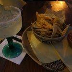 chips, salsa, margarita on the rocks