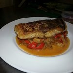 Pan-fried hake with sweet pepper & fennel relish