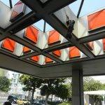 1980's Vintage Orange Panels at the entry