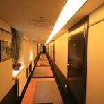 Lovely carpeted art deco corridor