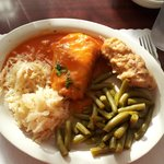 Stuffed cabbage, city chicken, green beans and kraut!  All great!