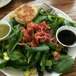Spinach Salad with Crab Cake