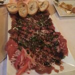 The large serving of beef carpaccio!