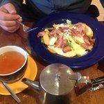 tasty cesar salad with bacon