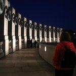 Columns at National World War II Memorial at Night