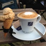 An overpriced double espresso macchiatto (even with the adorable ice cream cone).