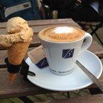 An overpriced double espresso macchiatto (even with the adorable ice cream cone).