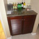 Bar/refrigerator area in concierge room