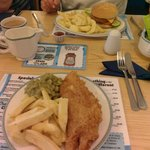 Veggy burger and fish and chips