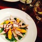 House Salad wtih Papaya, Goat Cheese and Chicken & Chicken Alfredo
