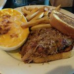 Pulled Pork with Cheesy Mac and Fries