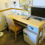 The classic Toyoko super- efficient desk, fridge, safe, hair dryer, TV, slipper rack, tea servic