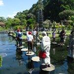 Walking through ponds at Tirta Gangga