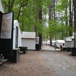 a row of tent cabins