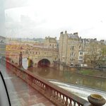 View of the bridge from the Bath Citysightseeing Bus