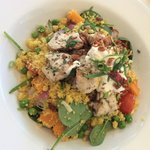 Lemon & Herb Morrocan Chicken breast served on a warm cous cous and pumpkin salad finished with