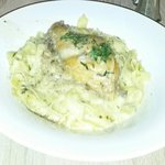 Rabbit with pasta Alfredo