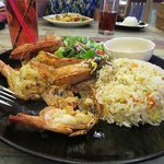 tiger prawns with salad and rice