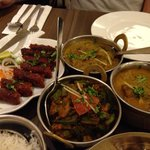 Kebab, fish curry, okra(very sweet), paraat lamb.