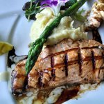 Beautifully done Atlantic salmon with garlic mashed potatoes