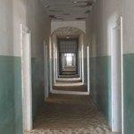 The long corridor inside the old hospital.