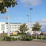 View from Oliver's cafe of midland hotel and Morecambe bay